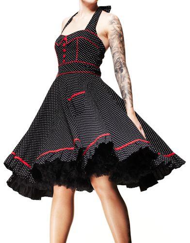 HELL BUNNY Vanity ~ Rockabilly Goth 50s Polka Dot Dress Plus Size -  $69.95
