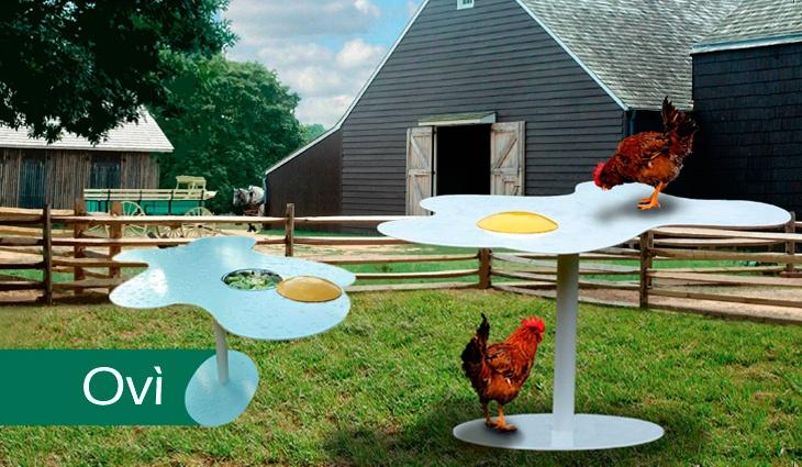 Un tavolo con tuorlo amovibile ed una ciotola che a filo piano contiene alimenti. Questa è la bellezza di Ovì!