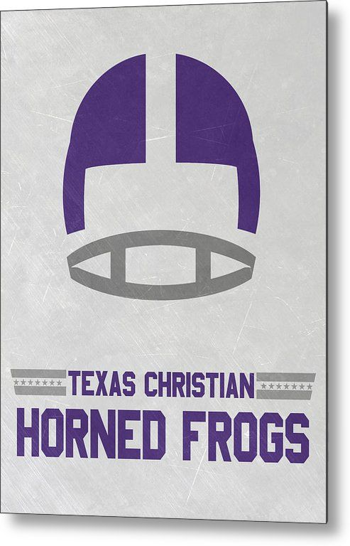 Horned Frogs Metal Print featuring the mixed media Texas Christian Horned Frogs Vintage Football Art by Joe Hamilton