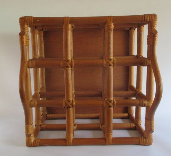 Rattan Bottle Carrier Vintage Bent Wood Wine Rack by HobbitHouse