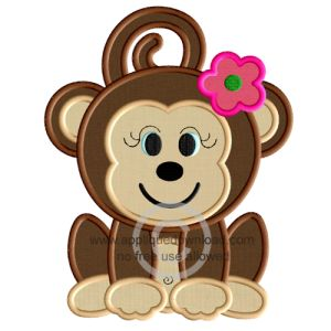 Cute Girl Monkey Applique
