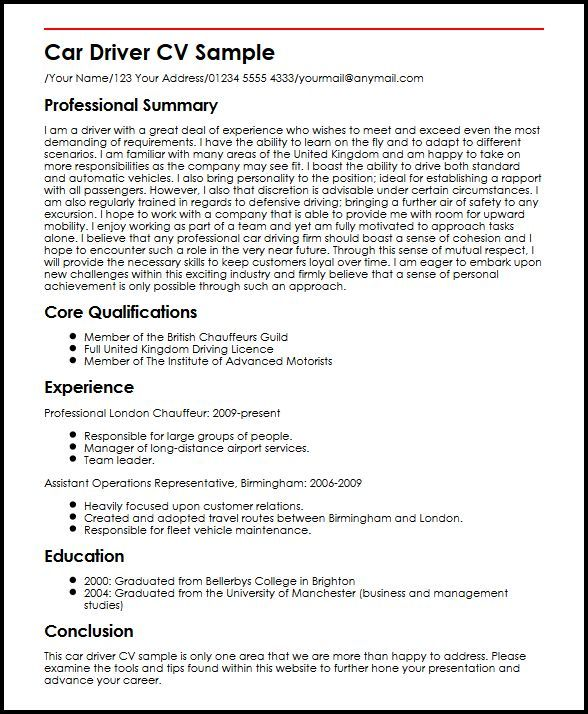 Driver Resume Examples Resume Cv Examples