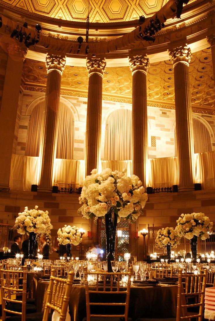 wedding reception locations nyc%0A Gotham Hall  lighting  bright golden hue for reception