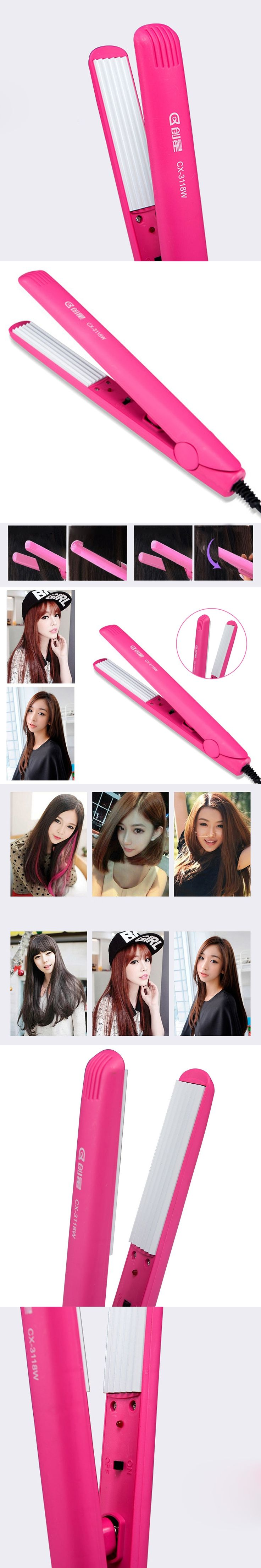 Professional Hair Crimper Crimping Wave Iron Ceramic Alloy Plate Waver Hair Curler Stylish Appearance Comfortable Grip Handle