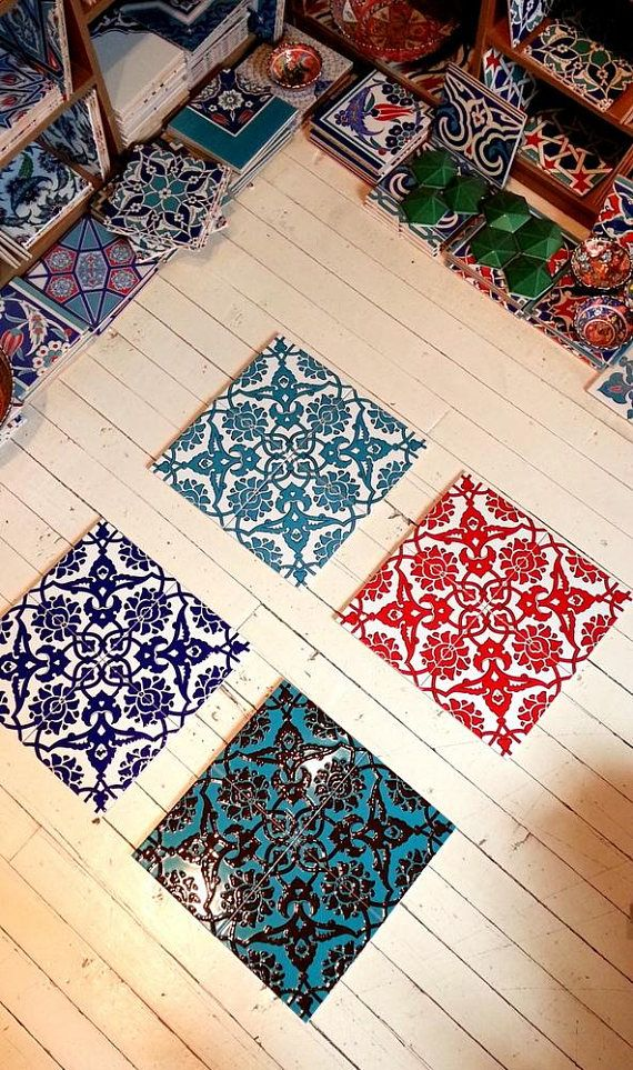 Iznik tile Relief Tile and handmade Wall tiles with 16 pieces