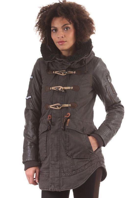 khujo havana coat diesel wax leather sleeves grunge allsaints duffle rrp£160