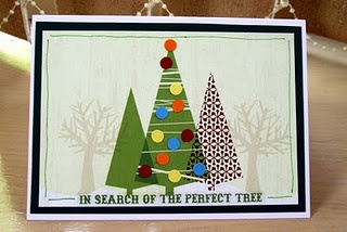"""The card is made from a Creative Memories """"Woodland Christmas"""" Photo Mat, matted on a piece of Evergreen Cardstock. I used some hole-punched circles of Yellow, Carrot, Cranberry and Mediterranean Cardstock for the tree decorations, and a Title Sticker, also from the """"Woodland Christmas"""" Photo Album Accent Kit. I finished the card by outlining it with a Green Dual Tip Pen."""