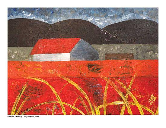 2015 Landscape Calendar | The Art Map Barn with Fields by Cindy Matthews - March