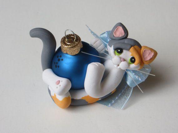 Arcilla del polímero diluido estatuilla de ornamento de Navidad de Calico Cat                                                                                                                                                                                 Más