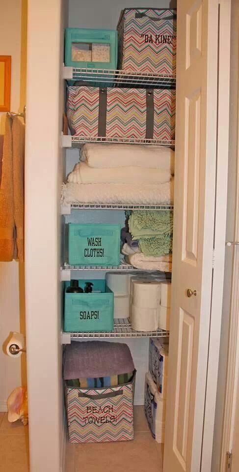 Linen Closet Organization Ideas Pinterest Part - 27: Linen Closet Organization, Diy Organization, Linen Closets, Key, Sweet,  Style, Apartment Ideas, Bathroom Ideas, Diy Things