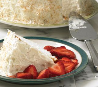 Angel Food Cake with Coconut and Strawberries: Ready to devour, angel food cakes are available in our bakery department.