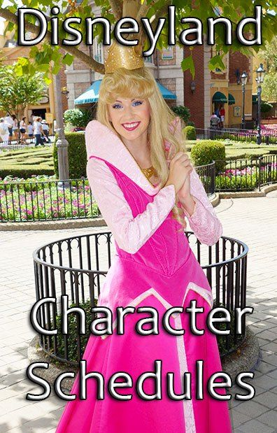 Disneyland Character Schedules - one day I will find them all!