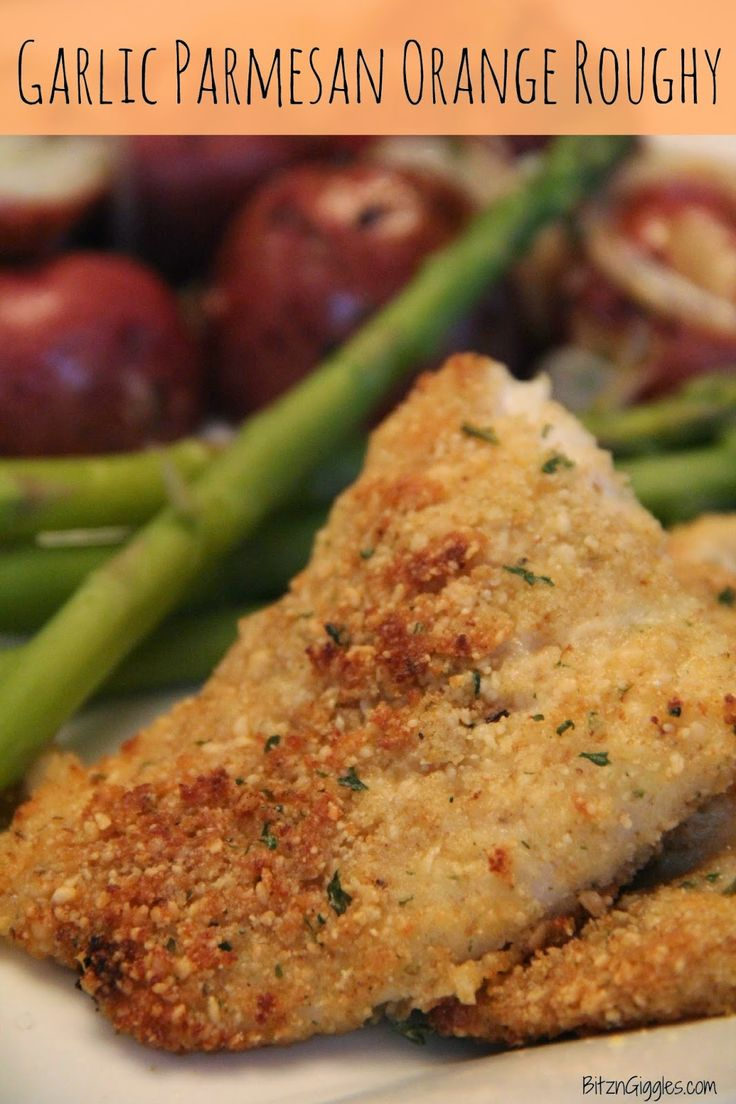 Parmesan Orange Roughy: These light fillets are dipped in butter, dredged in a bread crumb and Parmesan cheese mixture, sprinkled with parsley and placed in the oven for 15-20 minutes. Perfect! {BitznGiggles.com}