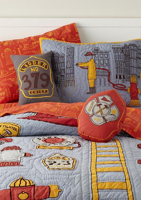 Land Of Nod: Boys Bedding: Firefighter Themed Bedding Set In Boy Bedding