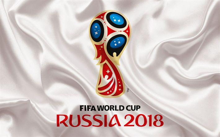Descargar fondos de pantalla 2018 Copa Mundial de la FIFA Rusia 2018, emblema, logo, futbol, de seda blanca, Rusia