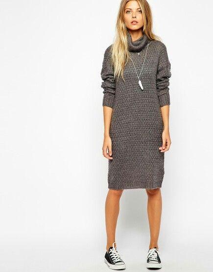 Polo neck long jumper dress