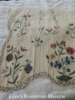 Embroidered apron, c. 1730 - Ladys Repository Museum & Diamond K Folk Art