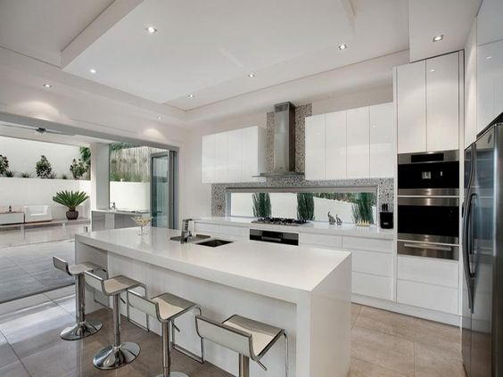 Straight line kitchen with island, low level slimline window, rangehood over window | realestate.com.au/home-ideas: