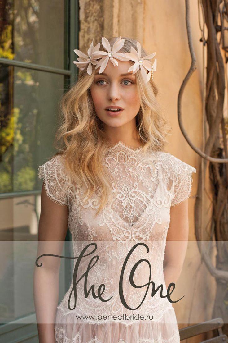 Короткое легкое кружевное свадебное платье из шелка в стиле шебби шик Ange
