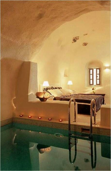 i have a fascination with adobe style work...and a small pool in the bedroom would be awesome....Gorgeous