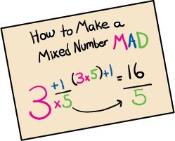 "M for multiply, A for add, and D for denominator. Then, using the example, walk students through each step: multiply the whole number by the denominator, add the numerator, and keep the denominator the same. When they forget, all you have to say is ""Make it MAD!"""
