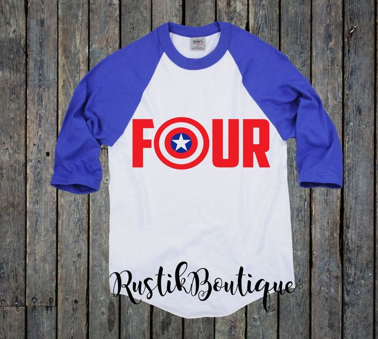 This is a perfect shirt for any little superhero that is turning 4! Shirt: Blue/White Raglan (as pictured) Vinyl: Red and Blue