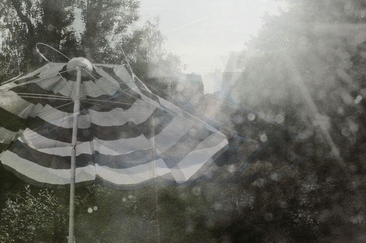 """Sechs Eichen"", Dresden, 2013, CANON EOS 600 D (as in: http://www.threehouse.de/5)  #umbrella #stripes #balcony #garden #nature #storm #trash #light #sun #trees #dresden #2013 #blackandwhite #blackwhite #black #white #bnw #bw #retro #blurred #canon #canoneos600d #summer #summerstorm #rain #rainyday #IKEA"
