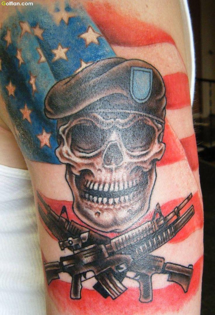 Fi fireman tattoo designs - Men Show Innovative Army Skull Tattoo Guns And