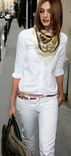More of a summery look, with white on white, and the scarf pulling on some darker colors, which are accented by the belt.