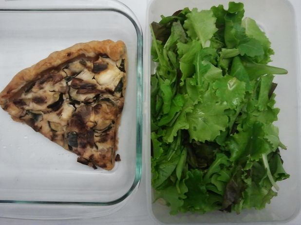 Every wednesday a new #inmylunchbox on Twitter: feta, zucchini and mushroom quiche and mixed leaf salad