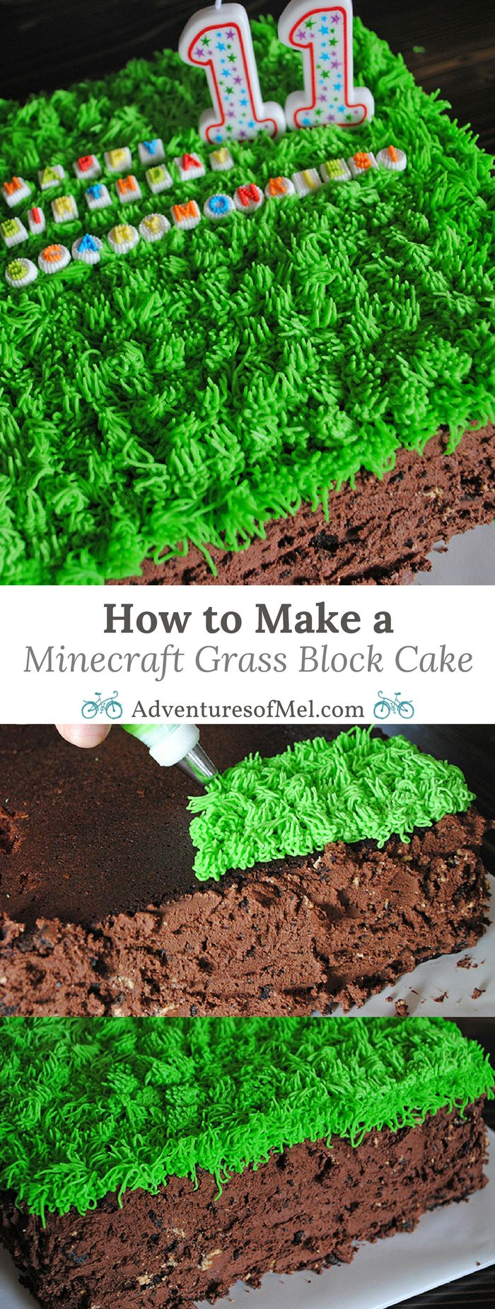 Do your kids love Minecraft? Print the supply list and instructions for how to make a Minecraft Grass Block Cake. It makes a fun and festive birthday cake or a great conversation piece for a Minecraft party!