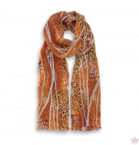 Leopard's Natural Pearls Scarf 100% Crépon Silk. Luxury high quality made in Italy by Fulards.com free shipping.