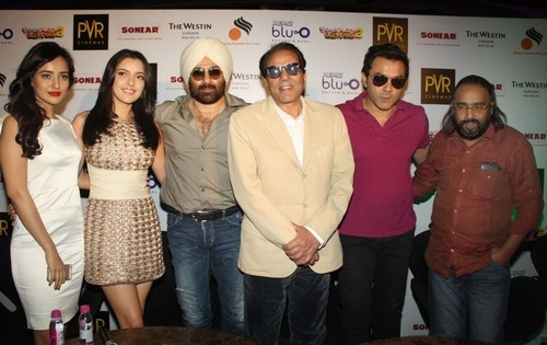 'Yamla Pagla Deewana 2' Press Conference in New Delhi - Dharmendra, Sunny Deol, Bobby Deol, Neha Sharma, Kristina Akheeva