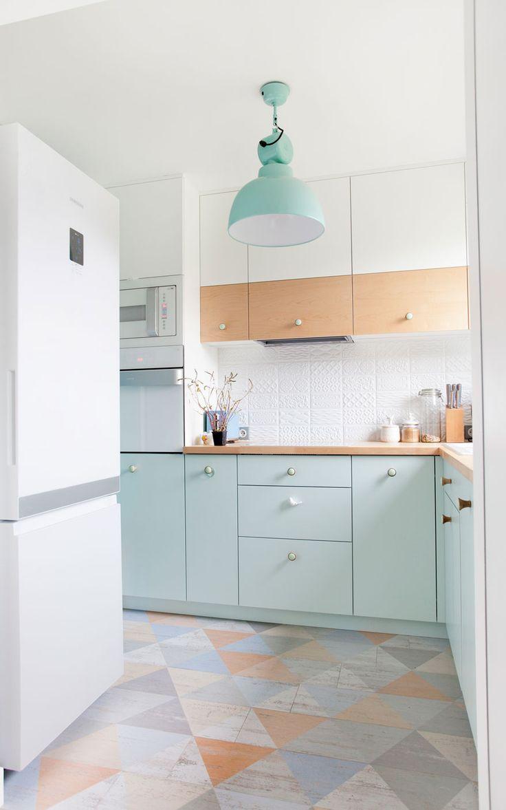 Unique Geometric Flooring + Pastel Color Palette Kitchen + Painted Kitchen Cabinets = THE COOLEST KICHEN EVER