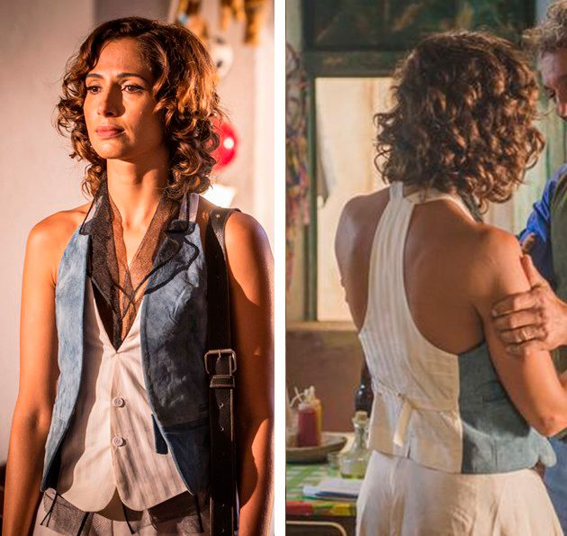 Maria Tereza (Camila Pitanga) Velho Chico, segunda Fase, colete azul