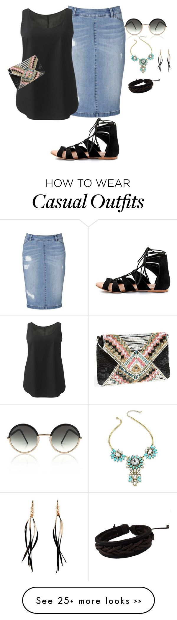 """""""my plus size denim skirt style look2/summer cute and casual"""" by kristie-payne on Polyvore"""