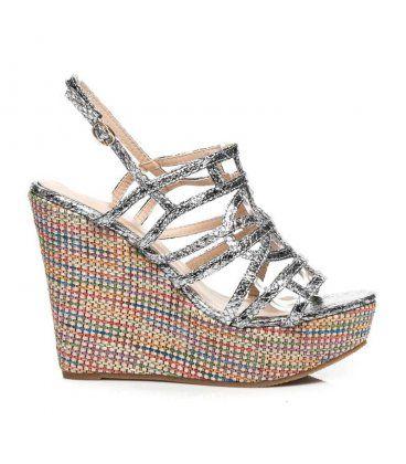 Viacfarebné sandále na kline 3555B