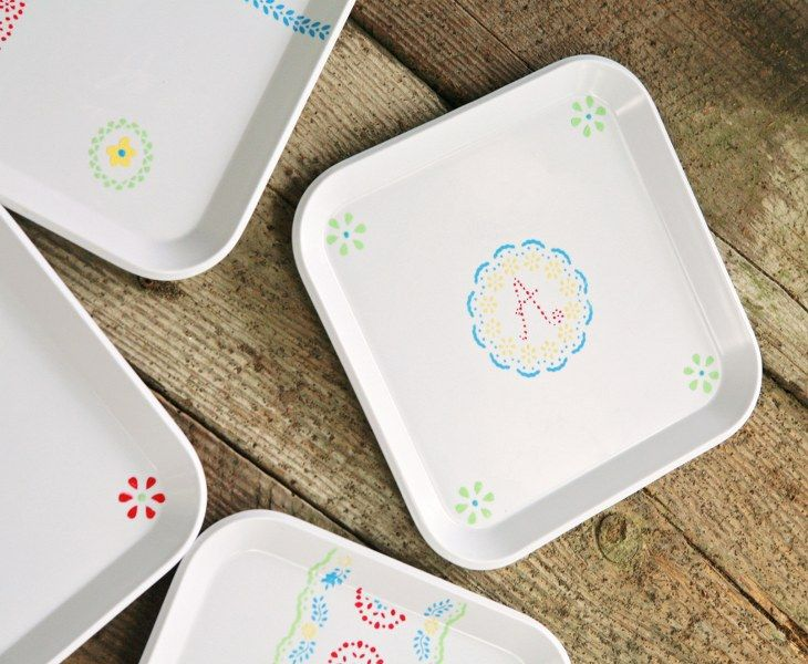 DIY Sweet Stenciled Picnic Plates - My So Called Crafty Life