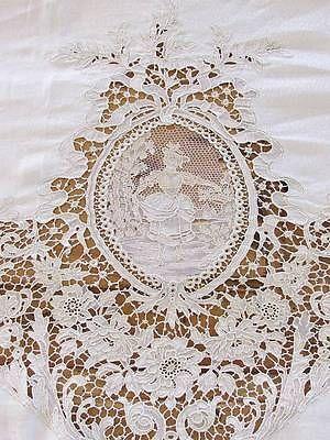 Magnificent Huge Belgium Zele Needle Lace Figural Antique Tablecloth