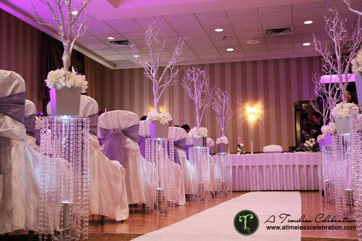 Wedding Hall Ceremony: Silver Trees On Crystal Stands