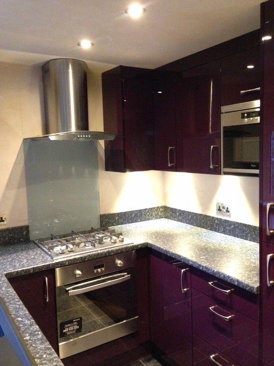, Modern Aubergine Kitchen Accessories Like Modern Kitchen Cabinet Also Modern Stainless Microwave Also Stainless Cooker And Cooker Hood Also Beige Wall Paint Color Also Modern Small Ceiling Lights: It is all about Aubergine Kitchen