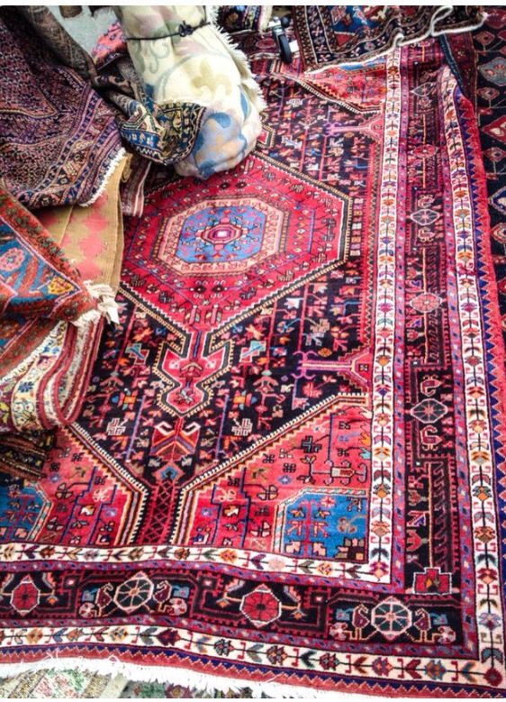 Red and blue persian carpet