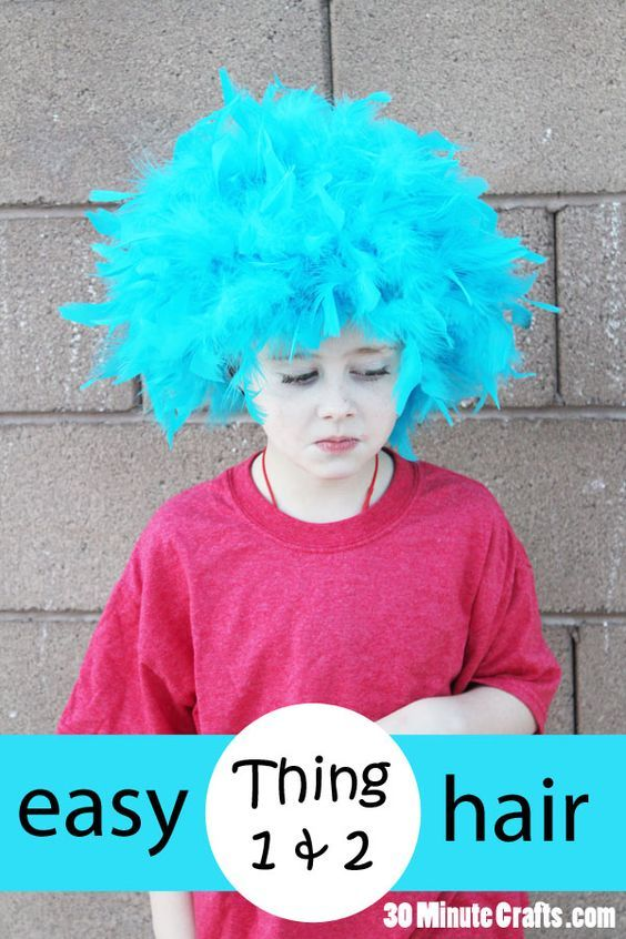 Easy DIY Thing 1 and Thing 2 Hair from Dr Seuss Cat in the Hat
