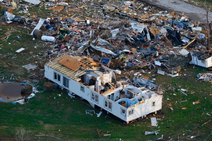 First tornadoes of 2015 hit Arkansas and Oklahoma This aerial photo shows storm damage of the River Oaks Mobile Home Park in Sand Springs, Okla., on Thursday, March 26, 2015.