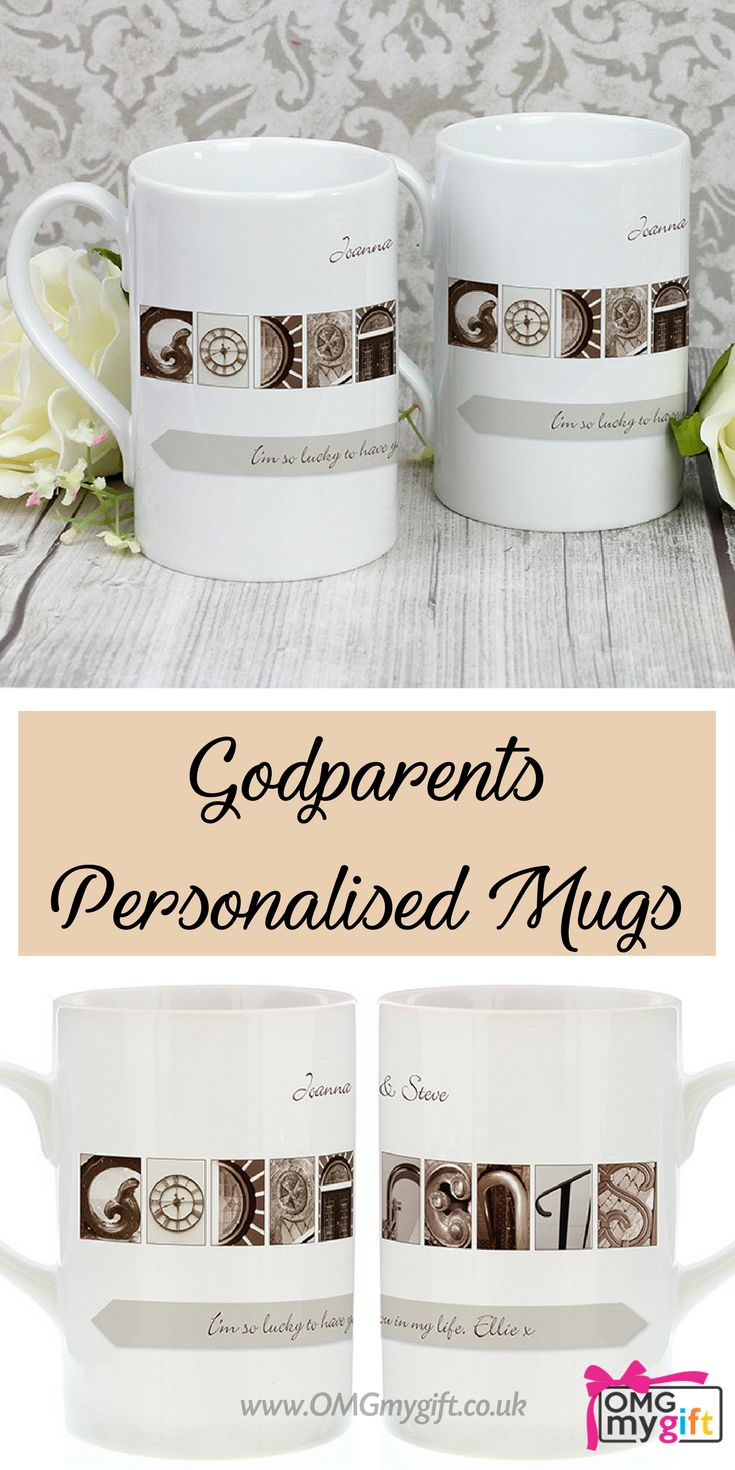 Godparents Personalised Mugs - Christening Gift idea as a Thank You for the Godparents.  A Gift For Him, a Gift For her and a Gift For Friends