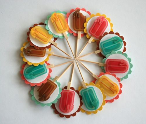 Popsicle Cupcake Toppers by GlitterandFrills http://ift.tt/2zUdeIE Free eBook at http://ift.tt/219cweU with easy jewelry making projects.  Popsicle Cupcake Toppers by GlitterandFrills ...