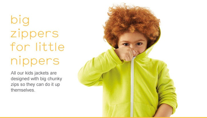 big zippers for little nippers #nutmeg