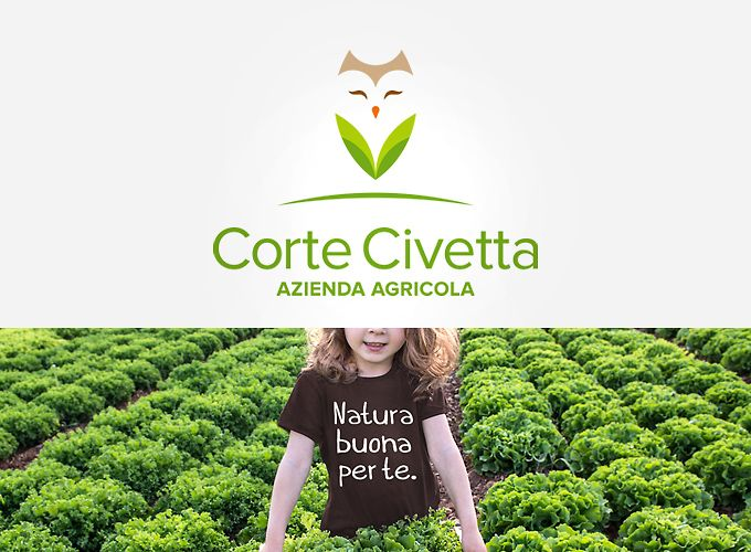 Corte Civetta | Corporate Identity. Logo design, payoff aziendale, packaging e webdesign essenziale per Corte Civetta: azienda agricola sulle Colline Moreniche a due passi dal Garda che produce insalate per tutto il Nord Italia.