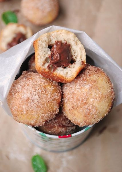NUTELLA FILLED DONUTS: Minis Donuts, Donut Muffins, Baking Donuts, Fillings Baking, Nutella Fillings, Nutella Donuts, Recipe, Donuts Muffins, Donutmuffin