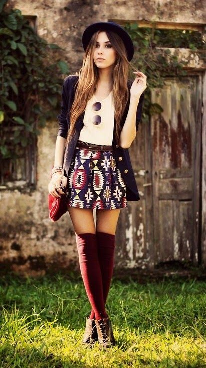 Navy blue coat, white t-shirt, aztec print skirt, burgandy knee-high socks and brown booties